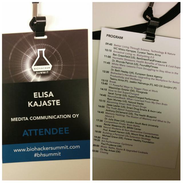 Biohacker Summit 2016 ohjelma