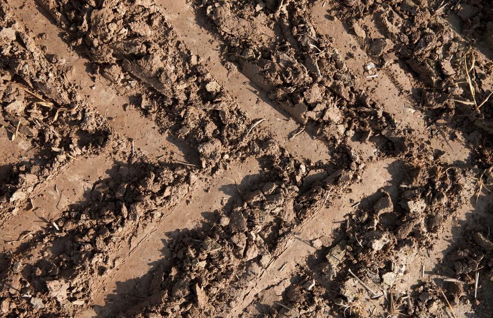 Traktorin jäljet savisessa ja multaisessa maassa